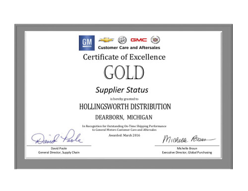 GM Customer Care and Aftersales 2015 On-Time Shipping Recognition Award