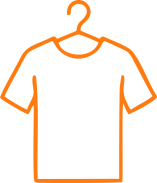 t-shirt on a hanger icon orange