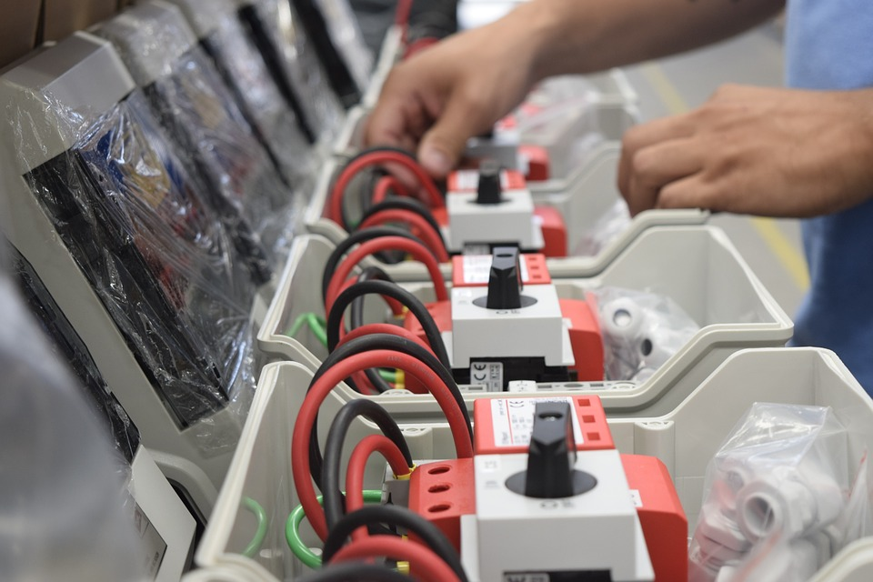assembly line of solar junction boxes
