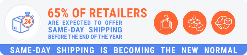 65% of retailers are expected to offer same-day shipping before the end of the year - same-day shipping is becoming the new normal