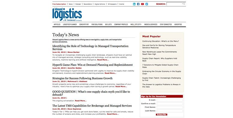 Inbound Logistics Website scm and logistics news and resources
