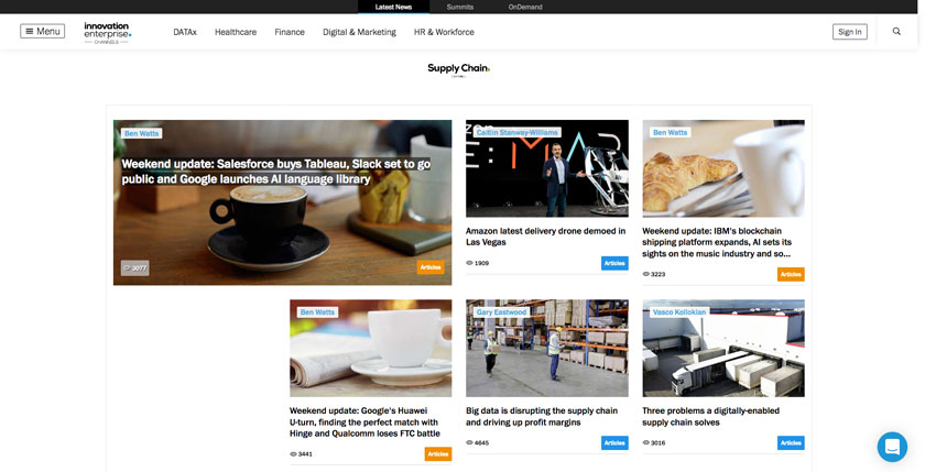 Innovation Enterprise Website supply chain and logistics resources and news