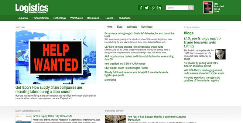 Screenshot of Logistics Management Website