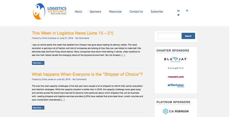 Logistics Viewpoints Website - supply chain resources and news