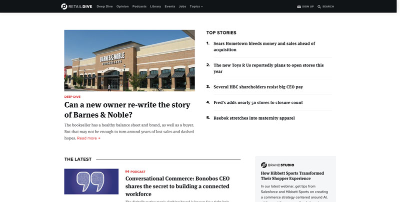 Screenshot of Retail Dive Website