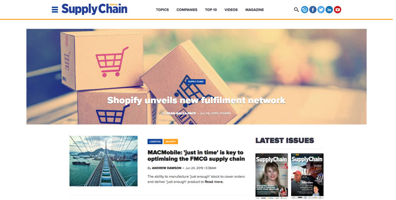 Screenshot of Supply Chain Digital Website