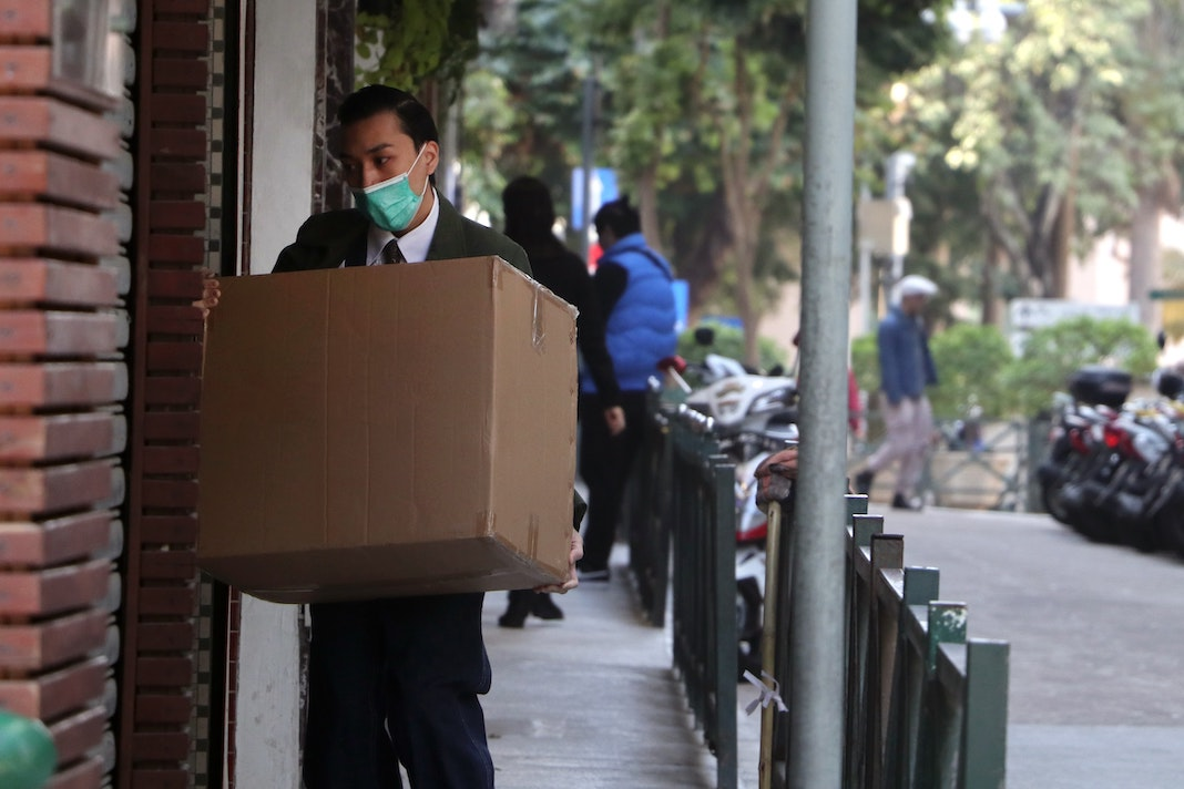 delivery person wearing face mask
